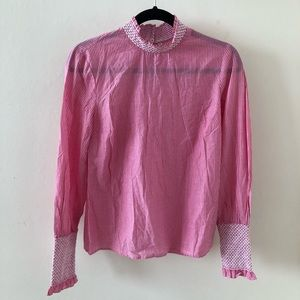 *Stradivarius Pink Mock Neck Pinstripe & Lace Top